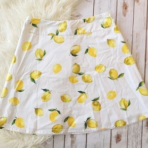 Rafella lemon print white yellow a line skirt